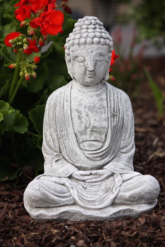 Steinfigur Sitzender Buddha Shiva Frostfest Garten Deko
