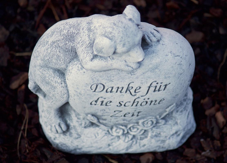 """Grabschmuck Hund /""""Danke für die schöne Zeit/""""  Frostfest Steinguss Tiergrab"""
